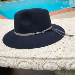 Lucky Brand Navy Wool Fedora Festival Hat